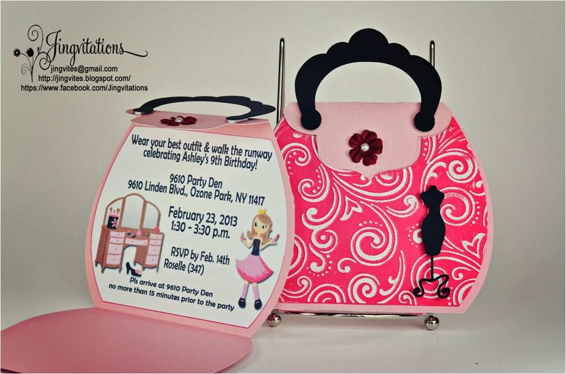 purse glamour fashion runway invitations