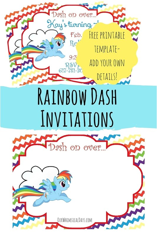 free rainbow dash birthday party invitations