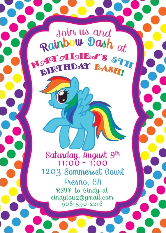 rainbow dash 5x7 printable birthday