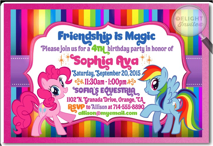 rainbow dash and pinkie pie my little pony invitations p 2917