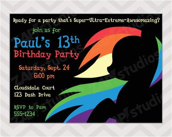 rainbow dash birthday party invitation