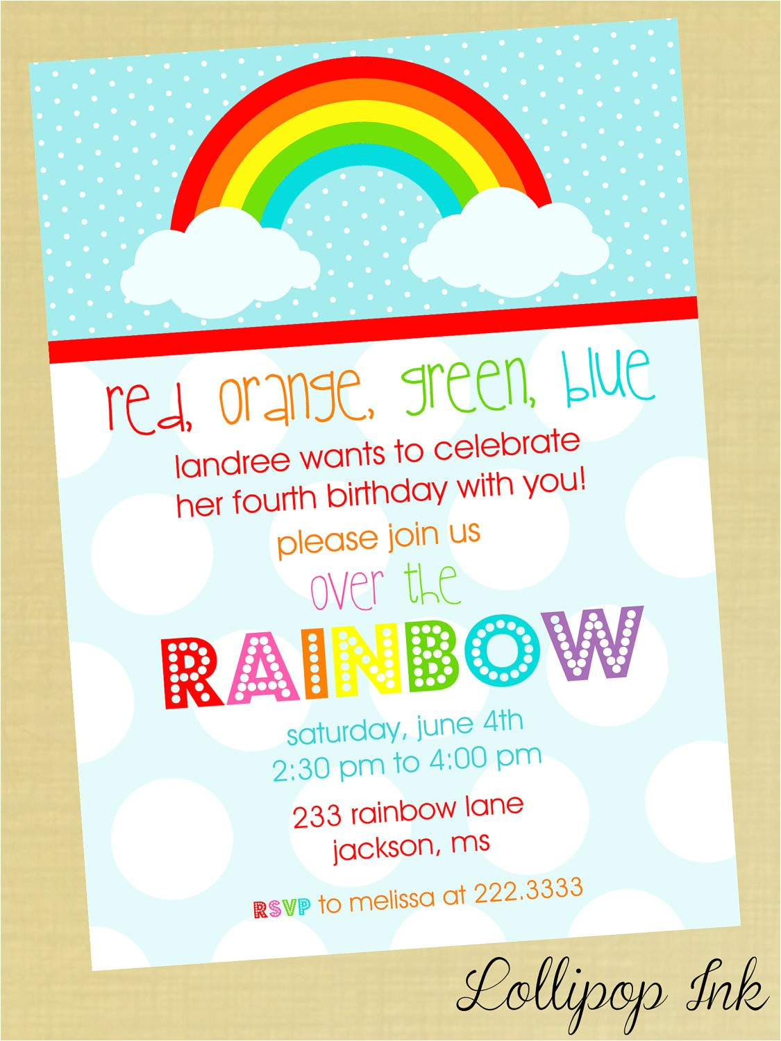 rainbow party invitation wording
