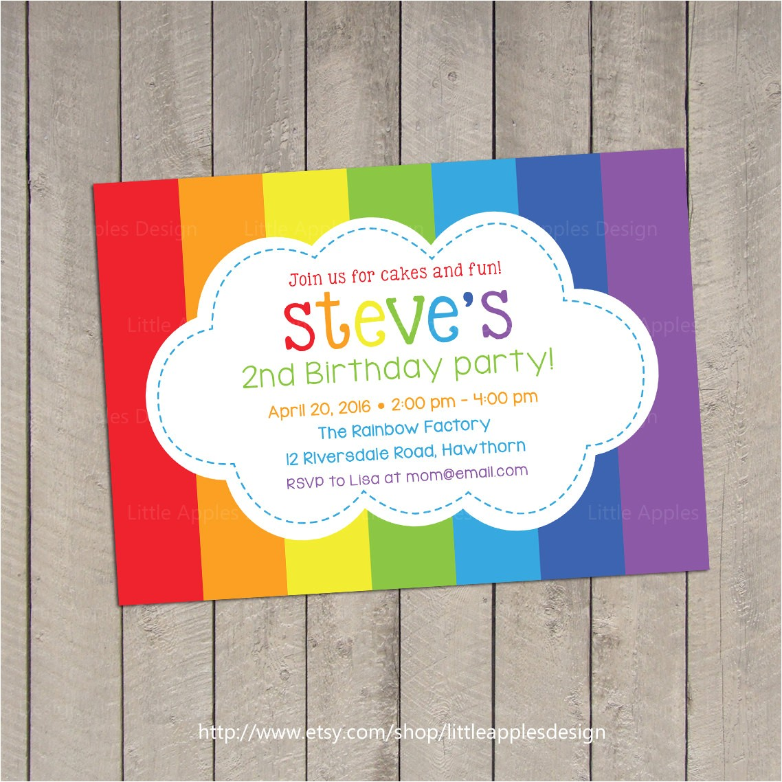 rainbow theme party invitation
