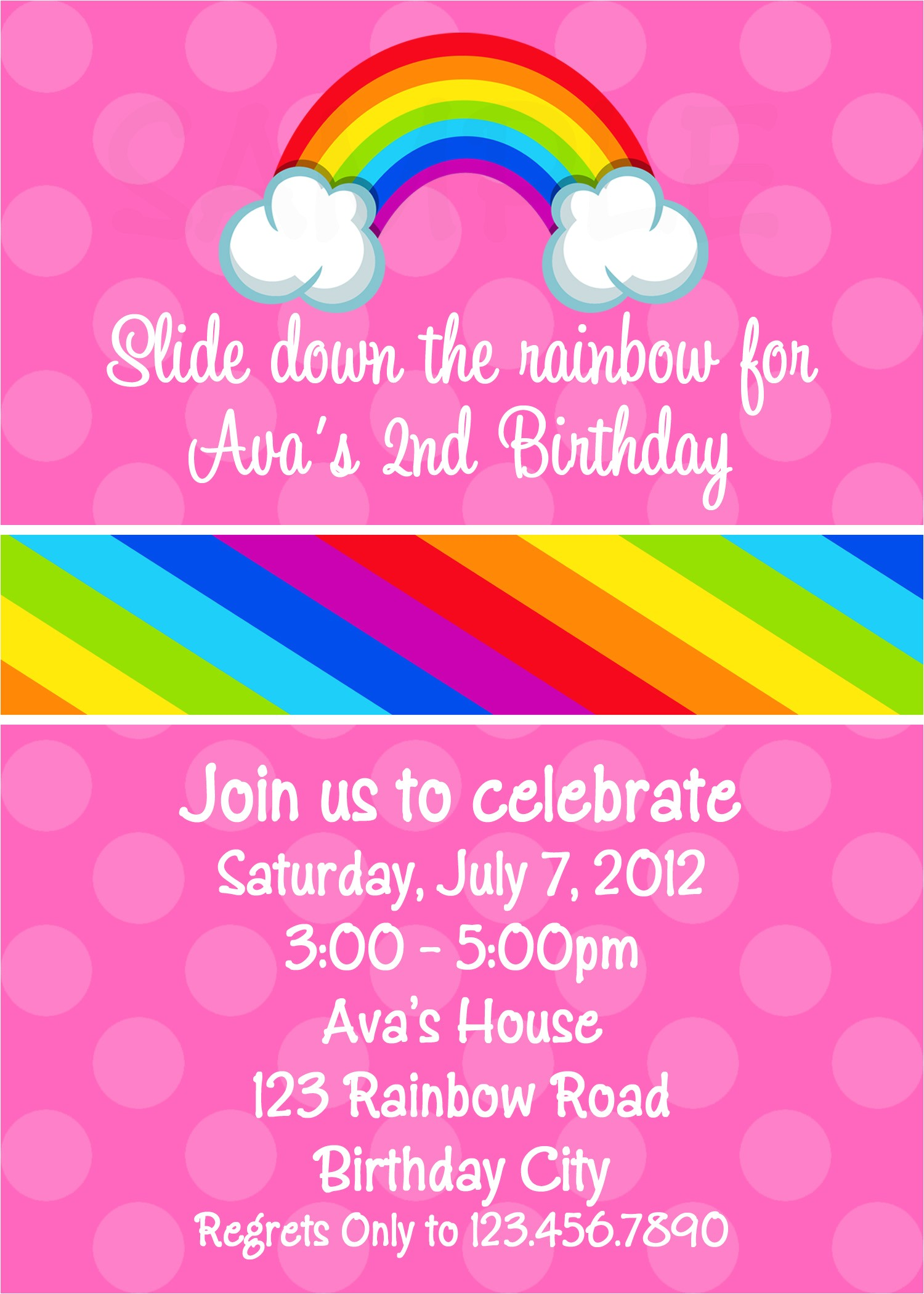 awesome rainbow party invitations printable