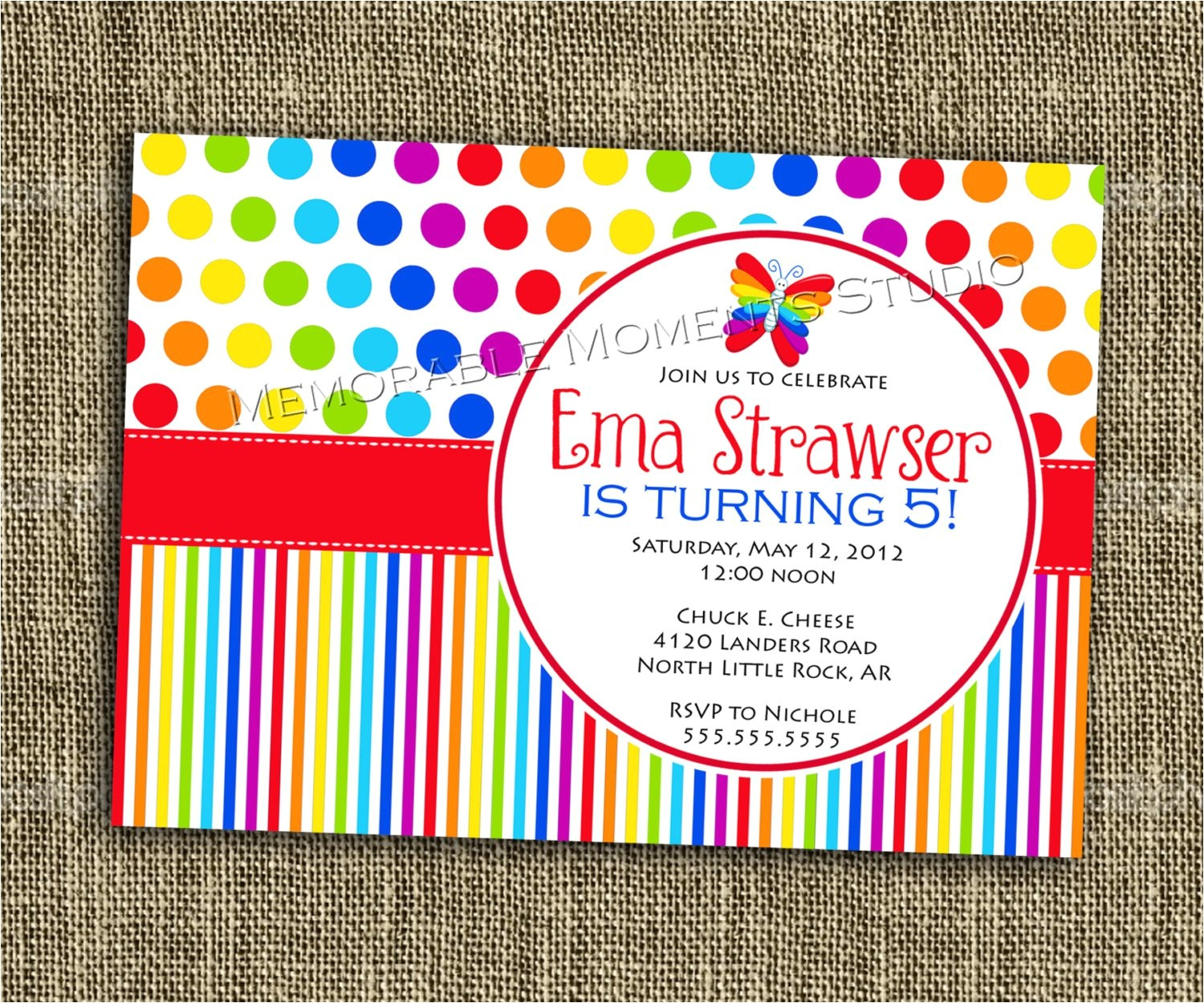 rainbow themed birthday invitations