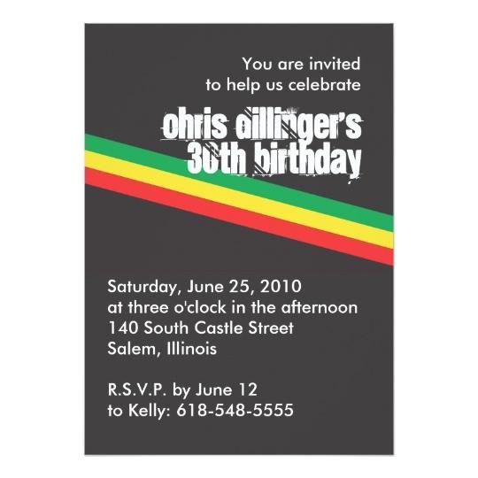 rasta birthday invitation 161307341062844072