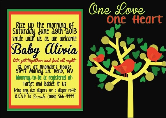 rasta bob marley baby shower invitation