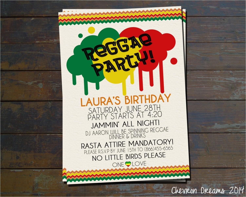 reggae party birthday invitation