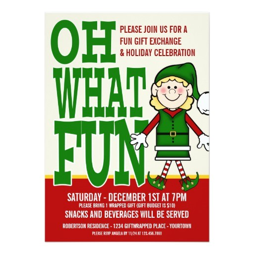 christmas elf girl gift exchange party invitation 161054498481478906