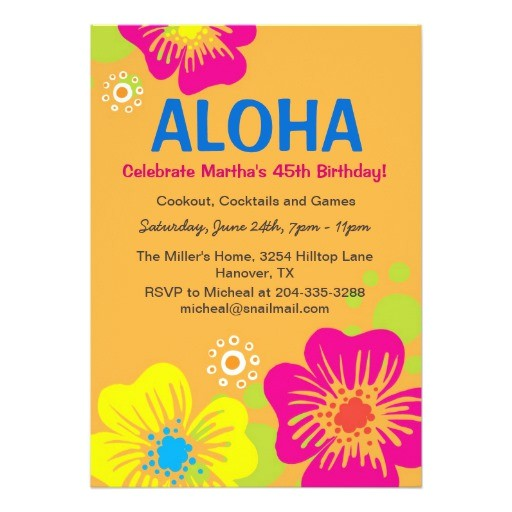 hawaiian luau birthday party invitation 161270166296886838