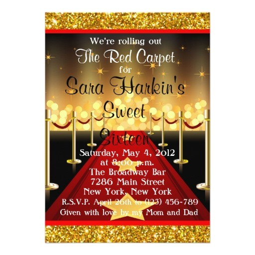 red carpet birthday party invitations
