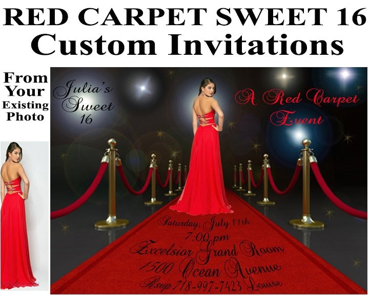 red carpet invitations sweet 16 birthday