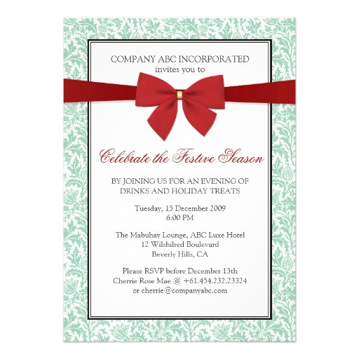 non religious holiday party invitati faux ribbon invitation 161807087196385845