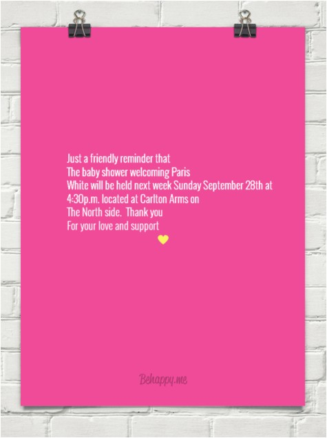 baby shower invitation reminder wording