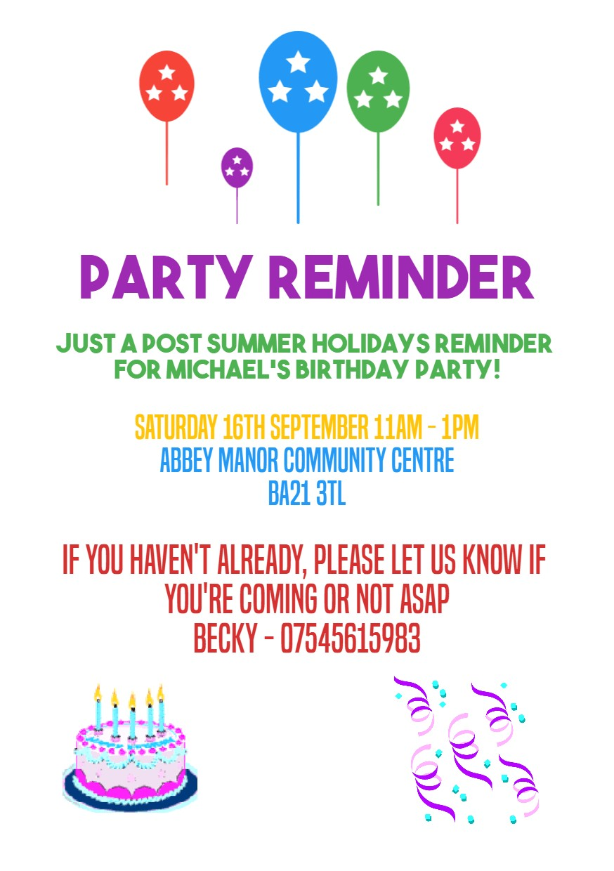 birthday invitation reminder message