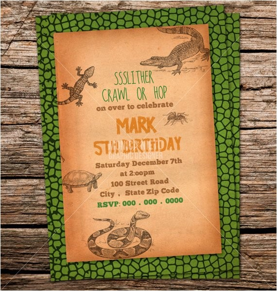 custom printable reptile birthday party invitation