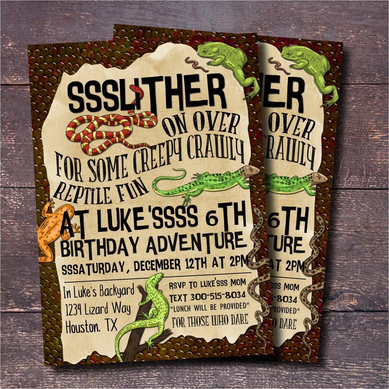 reptile party invitation boys birthday