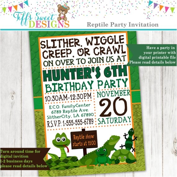 reptile party invitation frog snake