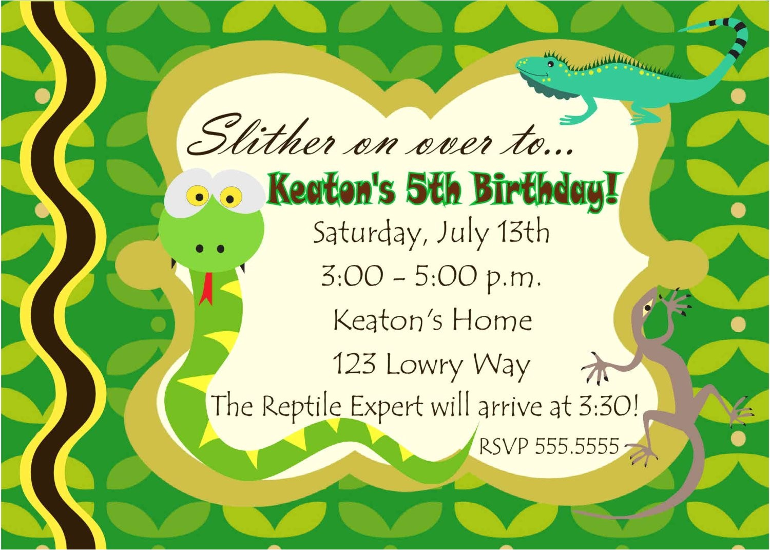 digital reptile snake photo birthday