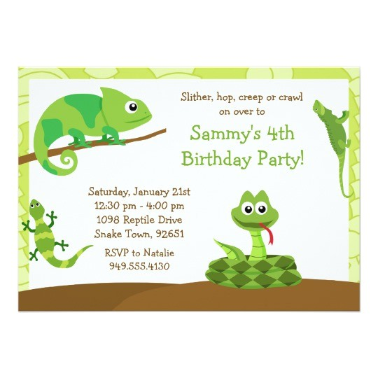 kids reptile birthday party invitation 161115203335555773