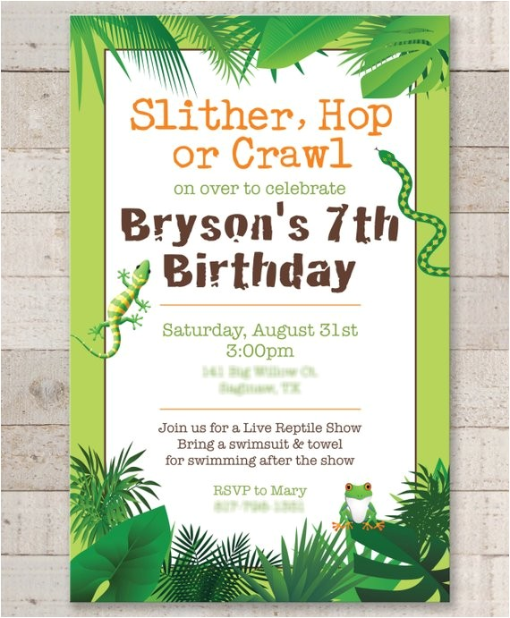 reptile birthday invitations safari