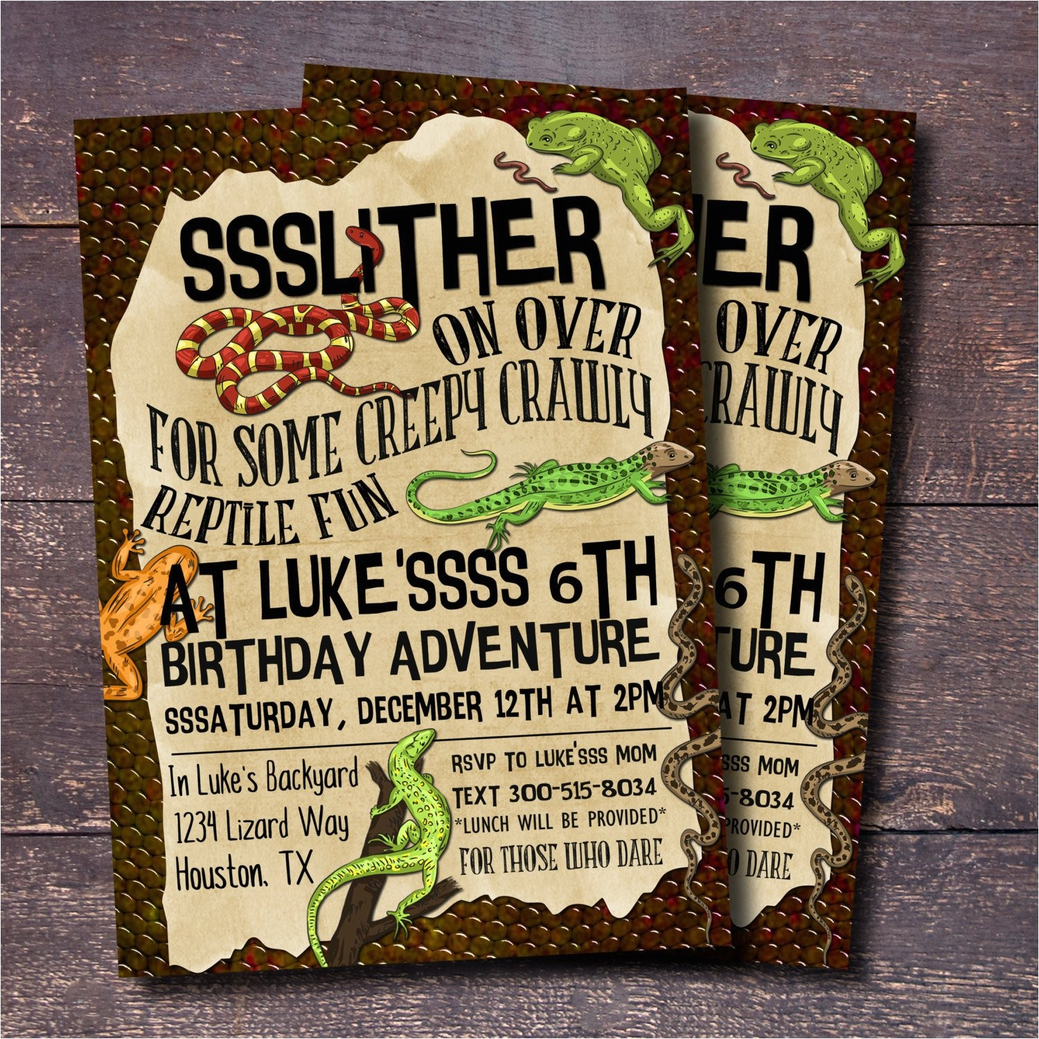 reptile party invitation boys birthday