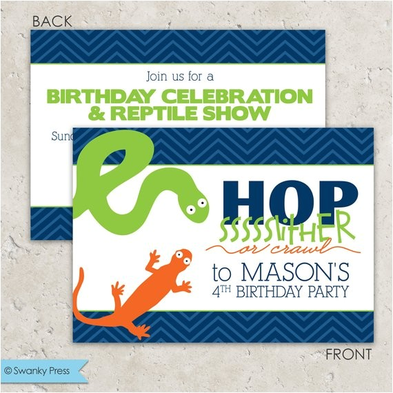 reptile party invitations snake and