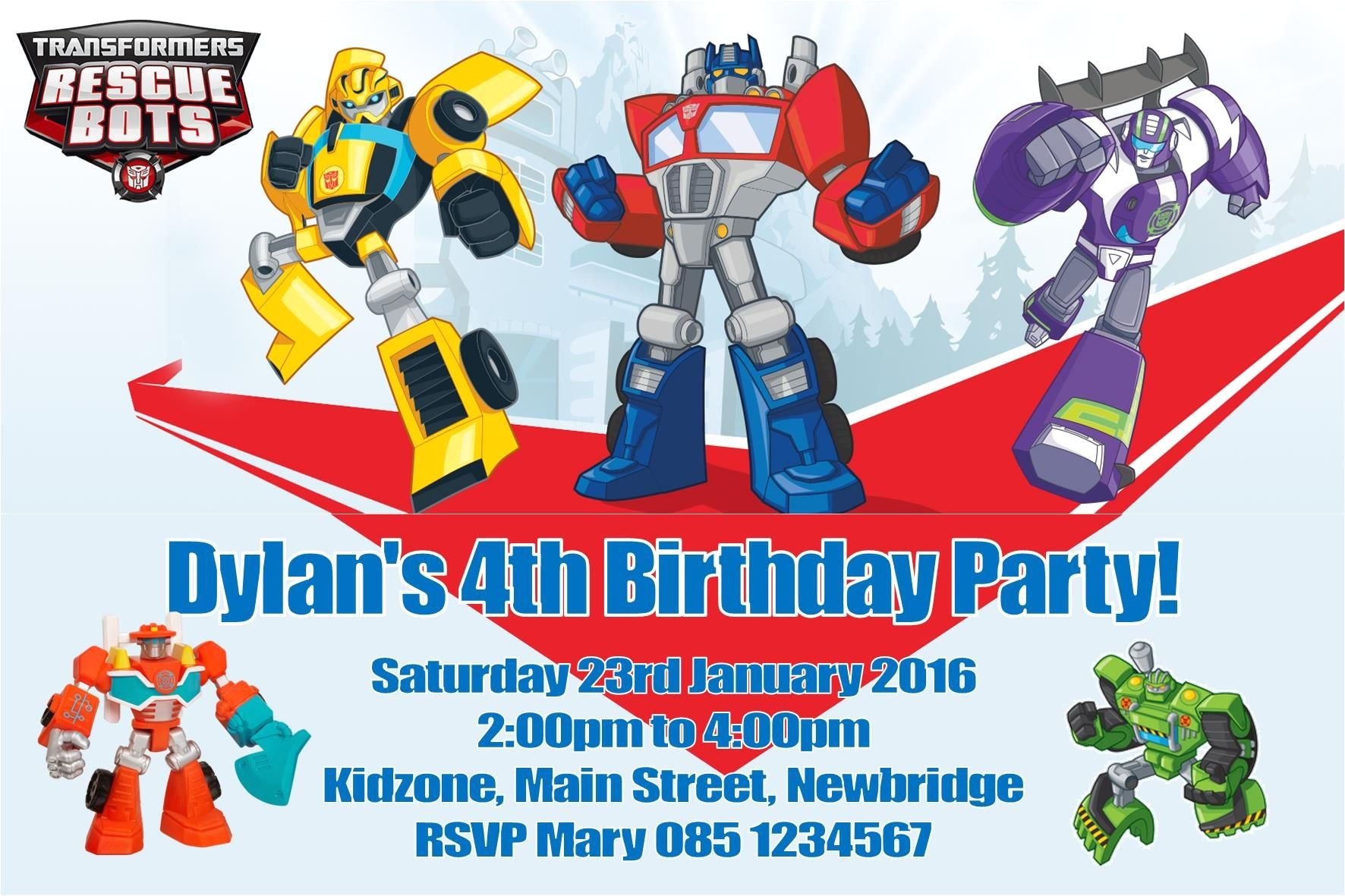 personalised transformers rescue bots invitations 3246 p