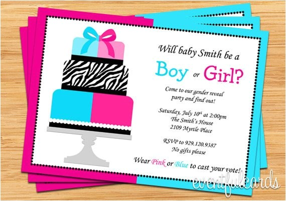 gender reveal party invitation pink and