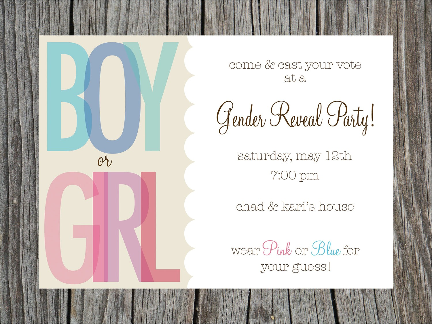 gender reveal party invites template