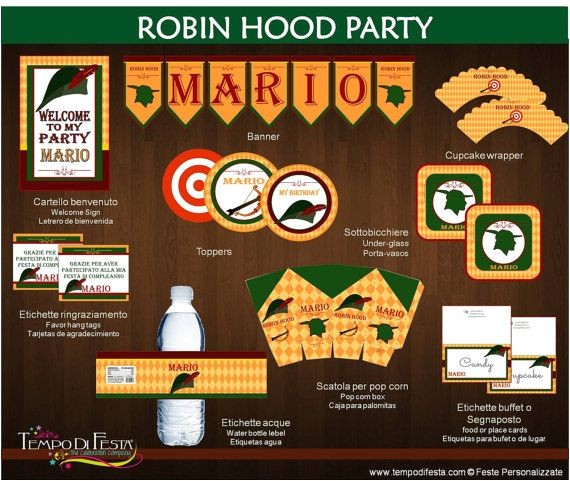 Robin Hood Birthday Party Invitations Robin Hood Printable Birthday Party Robin Hoods