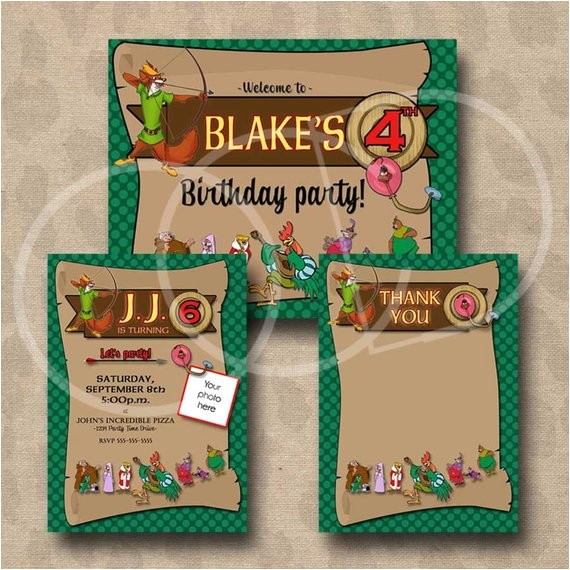 robin hood birthday invitation thank you