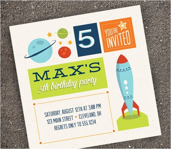 reserved rocket ship party invitation