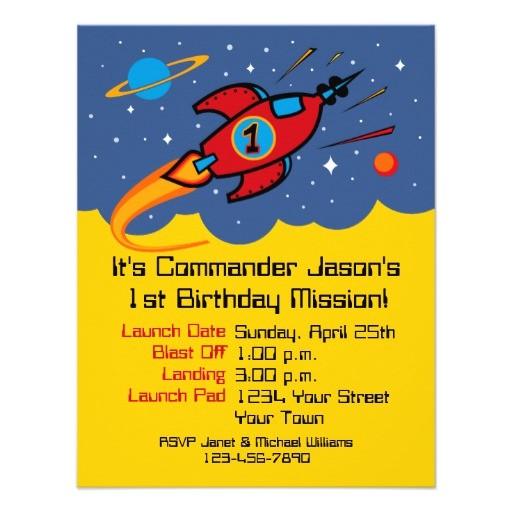 rocket ship 1st birthday custom invitations 161433467214634649