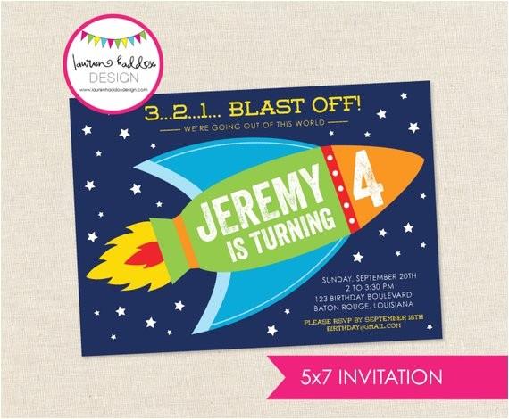 diy rocket ship party invitation