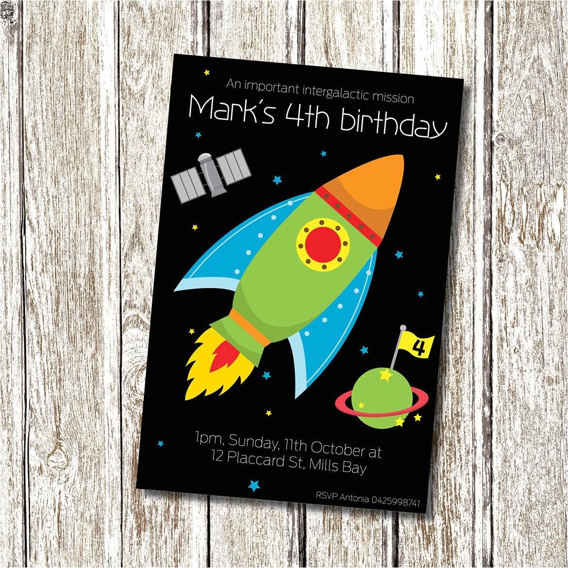rocket ship birthday invitation