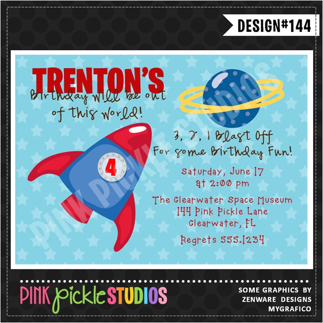 rocket ship personalized party invitation