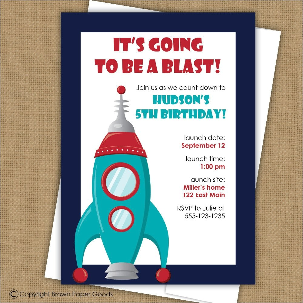space birthday invitation rocket ship