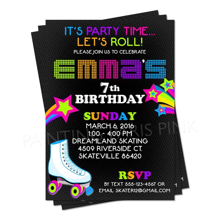 neon roller skating birthday party invitation