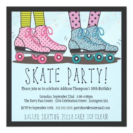 roller skating birthday party invitation 161372872757283871