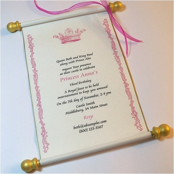 royal birthday party scroll invitation