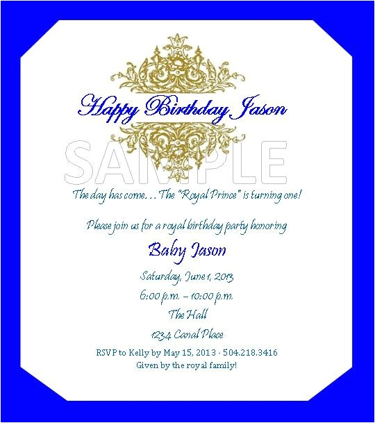 royal prince theme birthday invitations