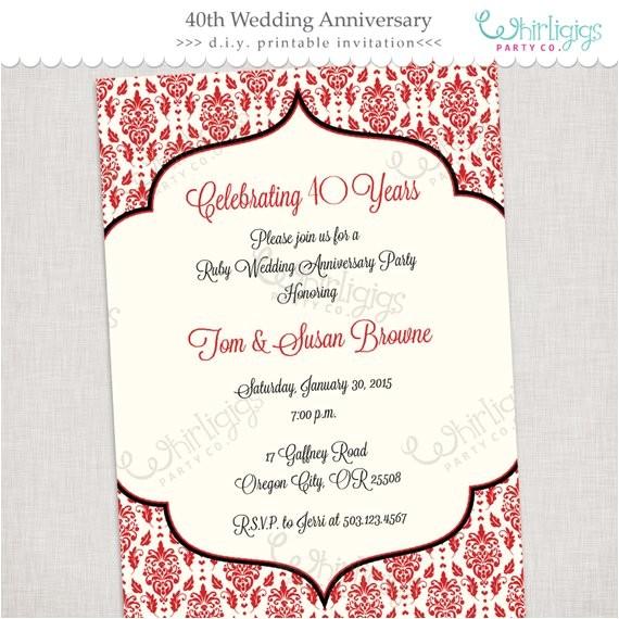 40th ruby anniversary printable invitation