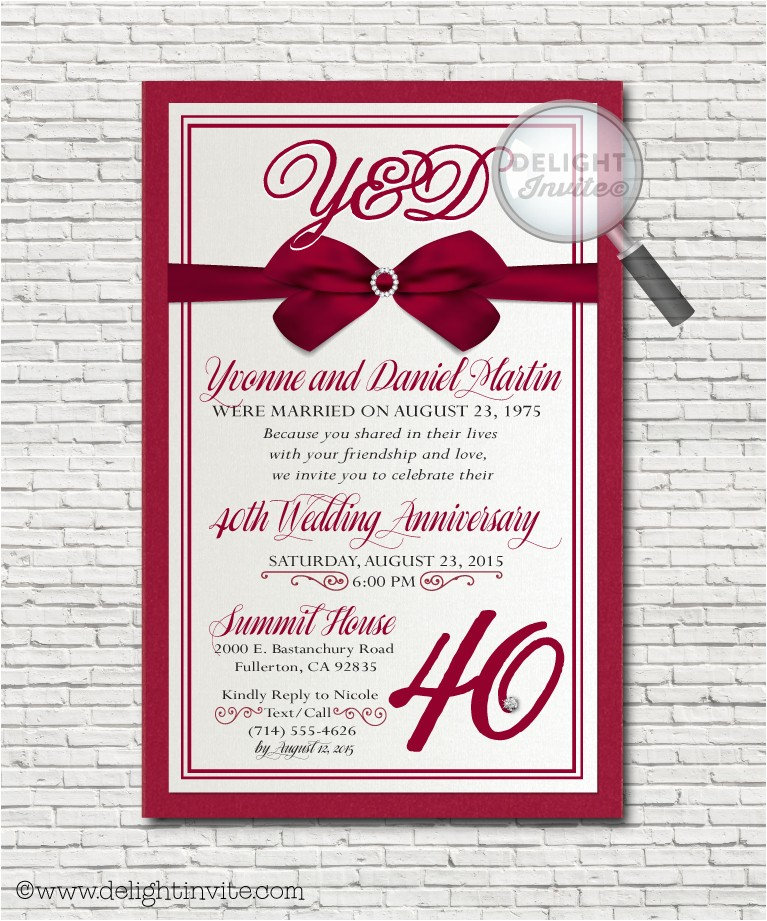 Ruby Wedding Anniversary Party Invitations Anniversary Party Invitations Custom Invitations and