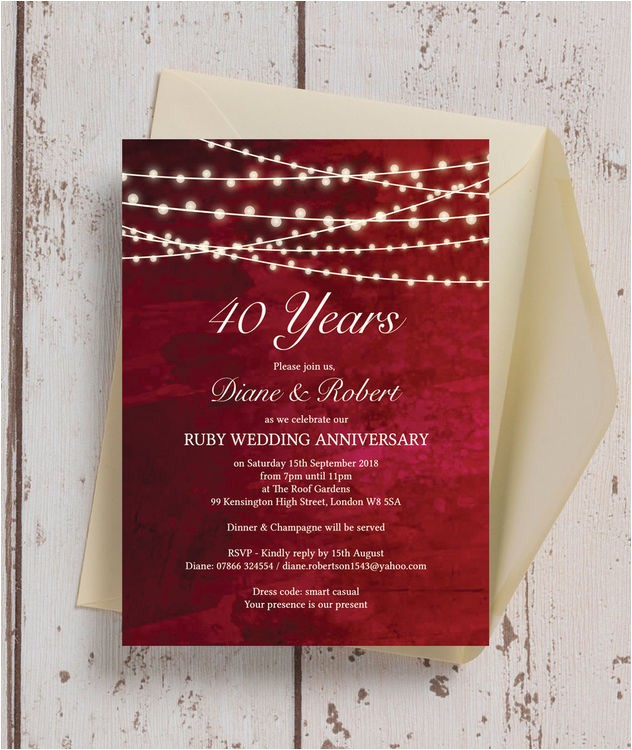 red fairy lights 40th ruby wedding anniversary invitation