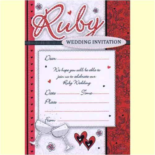 ruby wedding anniversary invitations glasses