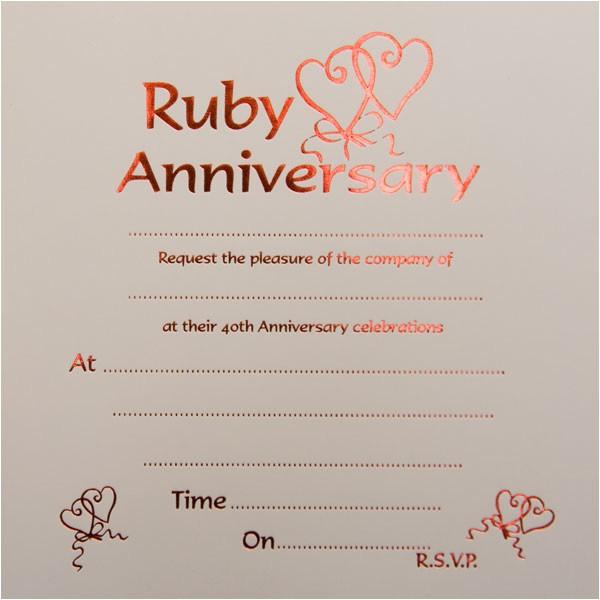 ruby wedding anniversary invitations 1112 p