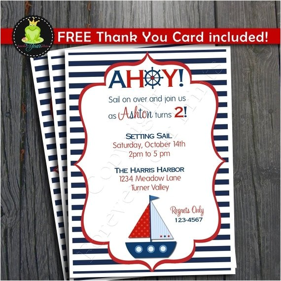 nautical birthday invitation sailboat party invitation