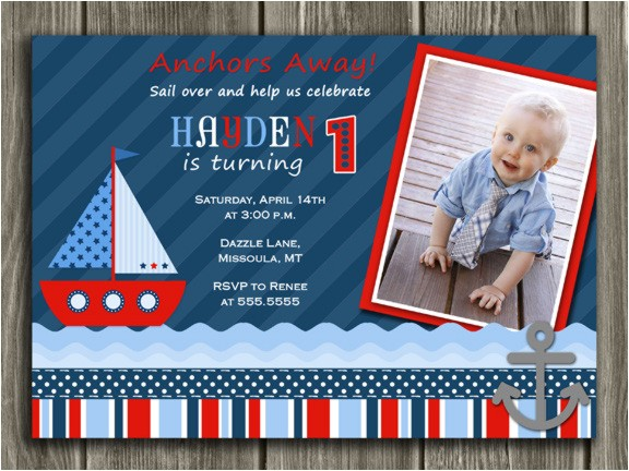 sailboat invitation thank you card included