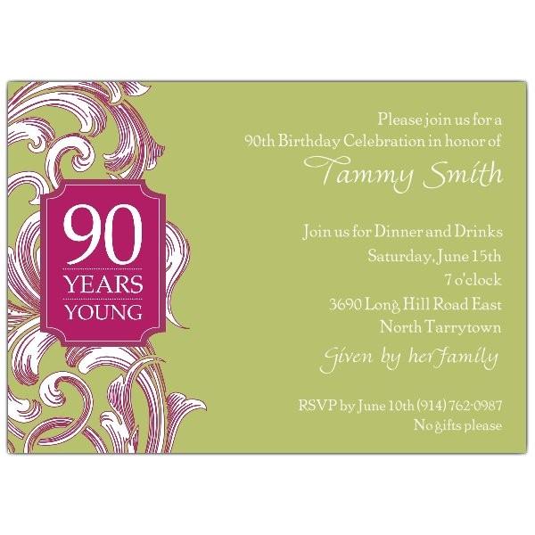 90th birthday border scroll moss invitations p 609 75 082 m90